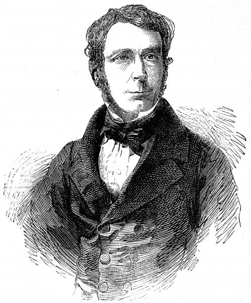 Engraved portrait of Sir George Biddell Airy (1801-1892), the English Astronomer Royal, pictured in 1858