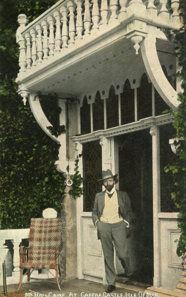 Sir Thomas Henry Hall Caine (1853 - 1931) at Greeba Caste, Isle of Man. Caine was knighted for his contribution to literature - he wrote a famous book entitled 'The Deemster&#39