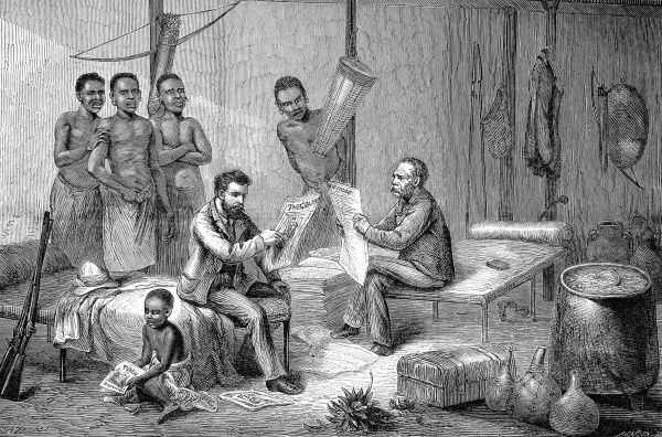 Engraving showing Sir Henry Morton Stanley (1841-1904) (on left, seated) and David Livingstone (1813-1873) (on right, seated) reading newspapers at Ujiji, Tanganyika, 1871