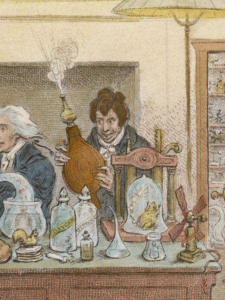 SIR HUMPHRY DAVY experimenting at the Royal Institution, London, 1802