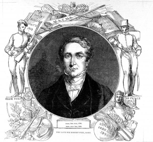 Engraving of Sir Robert Peel (1788-1850), the English statesman and Prime Minister, surrounded by illustrations of his political achievements. Peel was a Conservative MP who held strong views on Irish Catholicism and Free Trade vs Protectionism