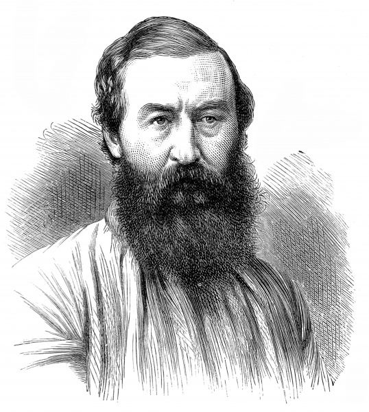 Engraving of Sir Samuel White Baker, the English explorer, pictured in 1873. Baker undertook extensive exploration of Central Africa, in search of the source of the Nile River, in the early 1860's. John Speke and James Grant found the source first