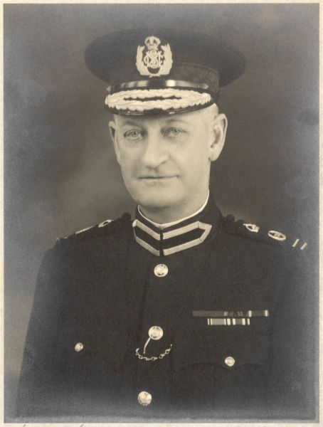 Sir Walter Macarthur Allen (1870-1943), Commander in Chief of the Metropolitan Special Constabulary (MSC). Portrait photograph by Hay Wrightson