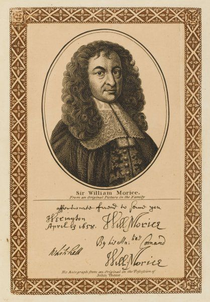 Sir WILLIAM MORICE statesman who never let anyone say grace in his house beside himself with his autograph