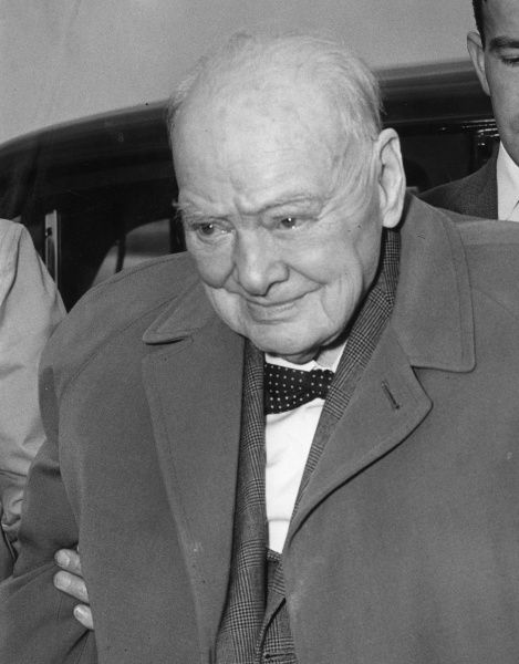 Sir Winston Leonard Spencer Churchill (1874-1965) British politician and Prime Minister at London Airport on his way to stay at the Hotel de Paris in Monte Carlo