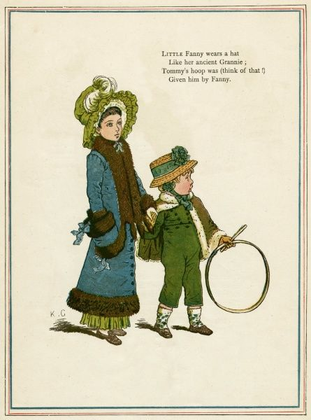 Sister and brother with hoop and stick, walking along hand in hand. first published 1879