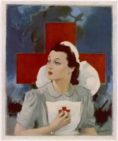Glamorous Red Cross nurse posing in front of a cross and Spitfire