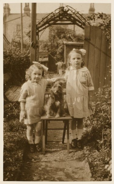 Two little girls pose in a back garden with their pet dog sat centre-stage on a chair. The dog is a terrier of indeterminate breeding. The girls' dresses suggest the