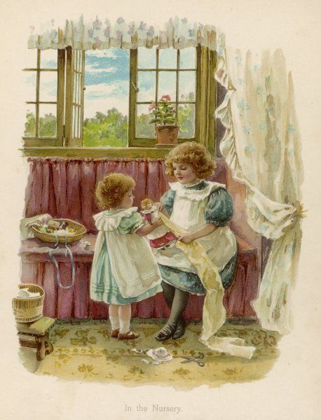Two sisters in a window seat in the nursery measure their doll for a new dress