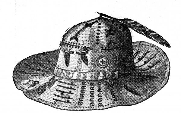 Illustration of a hat depicting the life of Sitting Bull, the Native American Indian Chief