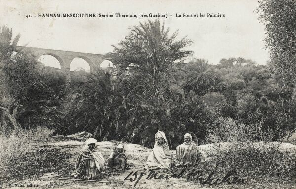 Four Algerians seated amid the Palm trees, with a viaduct bridge in the distance, outside the Meskoutine Mineral Baths, near Guelma, Algeria