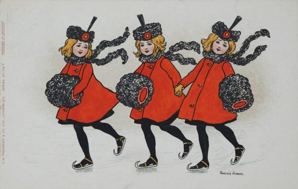 Three little girls, dressed identically in red coats and carrying fur muffs with matching hats skate across a frozen pond