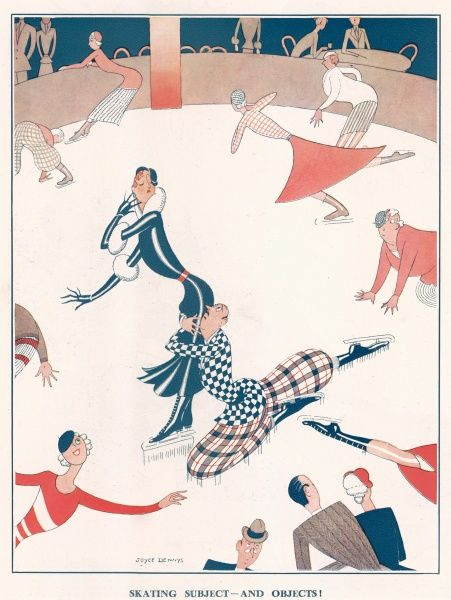 A illustration of a demure lady skating whilst a dragging a worried looking gentleman across the ice