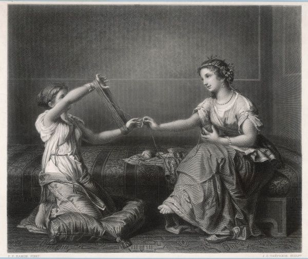 The skein-winder A Mother and her daughter in Roman dress ball up lengths of wool in their villa
