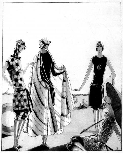 Sketch of bathing outfits, 1923 Date: 1923