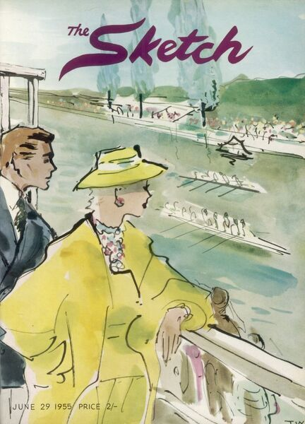 Front cover illustration depicting some fashionably dressed spectators watching the rowing at Henley Regatta