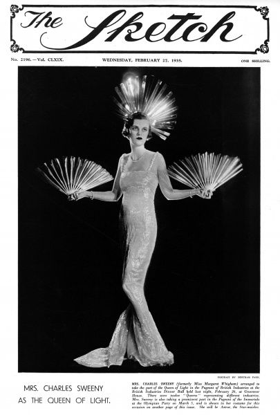 Mrs Charles Sweeny, formerly Miss Margaret Whigham and later the Duchess of Argyll (1912 - 1993), pictured as the Queen of Light in the Pageant of Industries at the British Industries Dinner Ball held at Grosvenor House on February 26th 1935