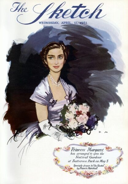 Front cover of the Sketch magazine featuring a portrait of Princess Margaret in honour of her opening the Festival Gardens at Battersea Park on May 3 1951