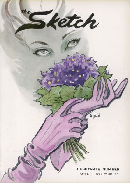 Front cover of The Sketch magazine's debutante number, featuring the face of a woman wearing pink gloves, hiding partially behind a small posy of violets