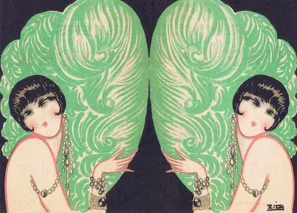 Illustration of the Dolly Sisters by Zig for a promotional leaflet for Paris - New York, Casino de Paris, 1927 1927
