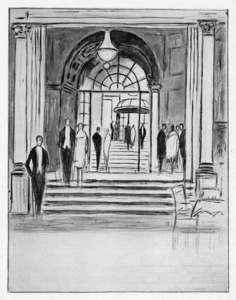 Sketch of the entrance to the Savoy Hotel, London, 1926 Date: 1926