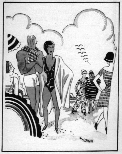 Sketch of fashionable beach at Deauville, 1920s. Artwork by Wynn Date: 1929