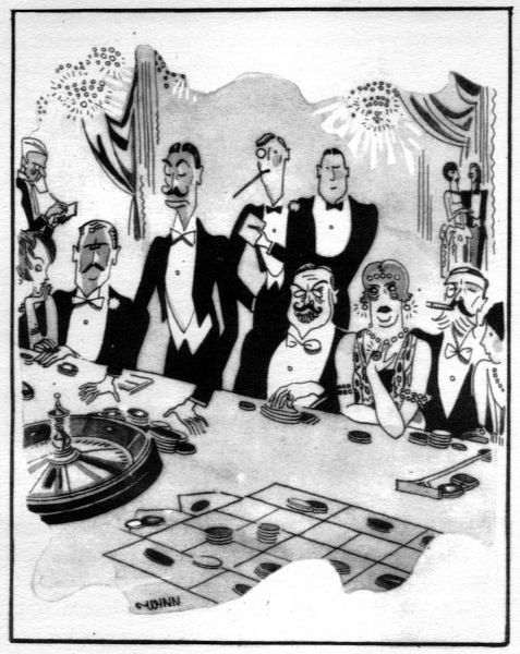 Sketch of gambling at the Monte Carlo Casino, 1920s. Artwork by Wynn Date: 1929