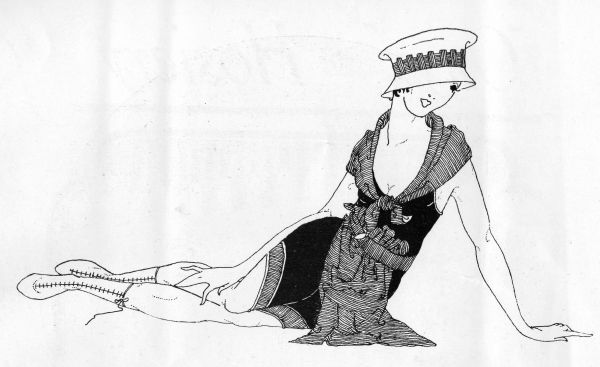 Sketch of girl on a beach, 1918, showing the latest fashions Date: 1918