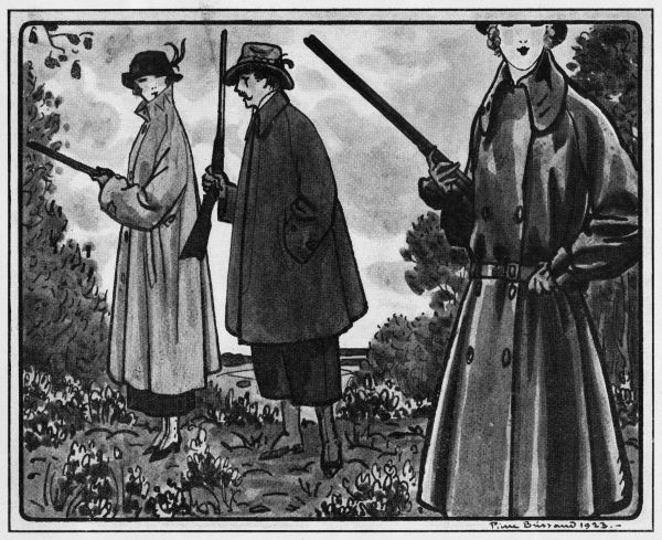 Sketch of hunting and shooting outfits, 1923 Date: 1923