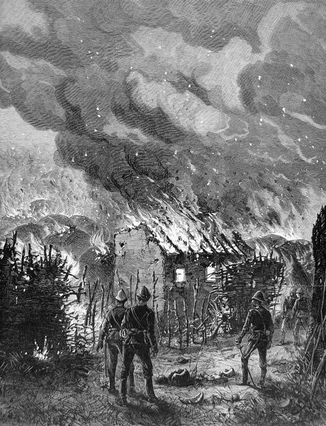 Sketch by ILN special artist, Melton Prior. British troops in tropical helmets survey the destruction by fire of the house of Cetshwayo, King of the Zulus, at the end of the Zulu wars