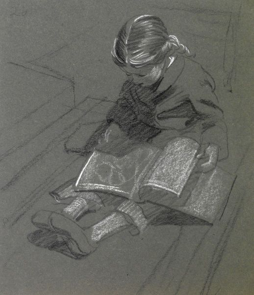 Sketch of a little girl sitting on the floor reading a book