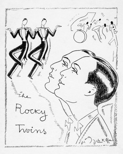 Sketch of the Rocky Twins, early 1930s Date: early 1930s