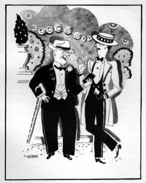 Sketch of sauve, well dressed gentlemen on the Riviera, 1920s. Artwork by Wynn Date: 1929