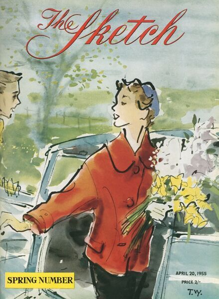 A colour illustration for the front cover of The Sketch, depicting a young lady getting out of a car with the help of a gentleman, whilst holding a large bouquet of spring flowers