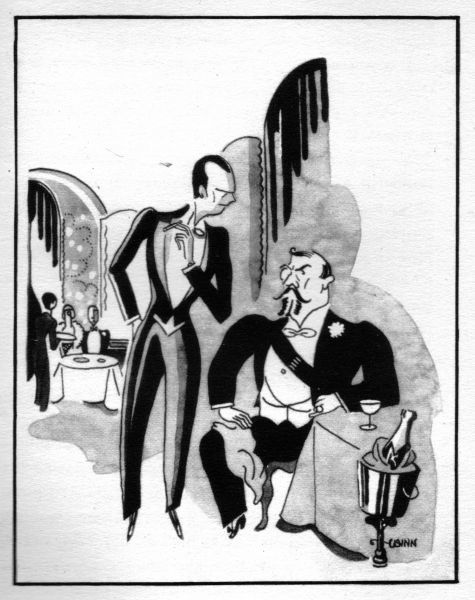 Sketch of VIPs in Casanova night spot, Biarritz, 1920s. Artwork by Wynn Date: 1929