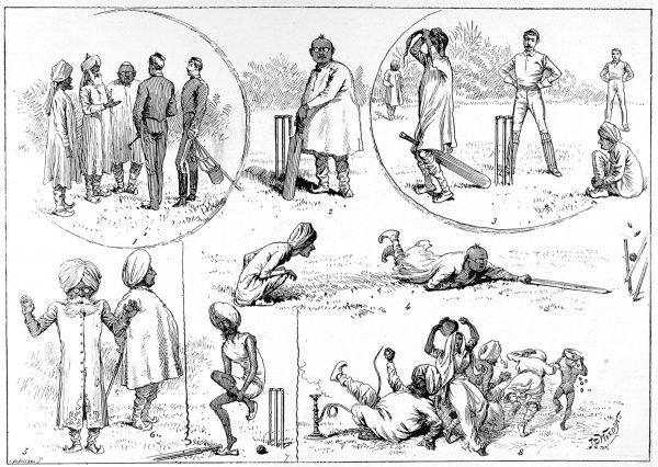 A series of sketches by an English Cavalry Officer of a game of cricket played between an Indian College and British Officers, in India, 1890