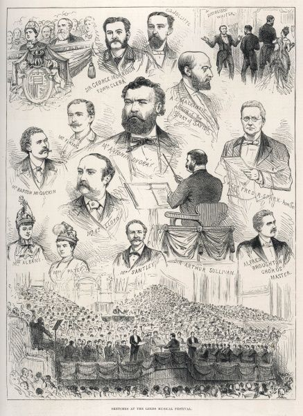 This engraving illustrates events at the Leeds Music Festival in 1886, depicting the conductors and concert. In the centre Sir Arthur Sullivan is shown and surrounding him are the other participants of the concert including Mr Antonin Dvorak