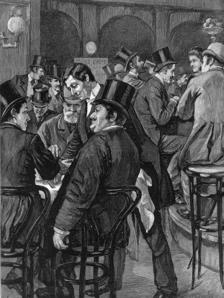 Scene in an unidentified City restaurant showing City gentlemen at lunch. The chairs and sign on the wall suggest this is a French-style restaurant. Apart from the waiters, all the men are wearing bowler or top hats