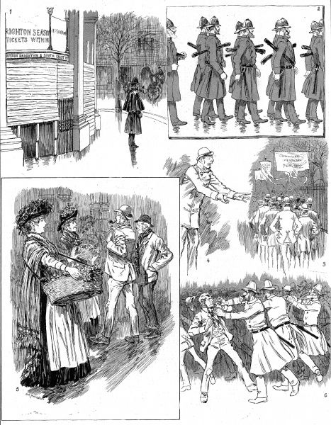 Engraving showing a series of sketches of the Socialist Meeting in Trafalgar Square, London, in November 1886. The images show (clockwise from top left): Charing Cross Railway Station; Policemen marching to Trafalgar Square; a Socialist speaker