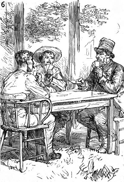 Three men playing cards, one in a top hat, one in a sombrero