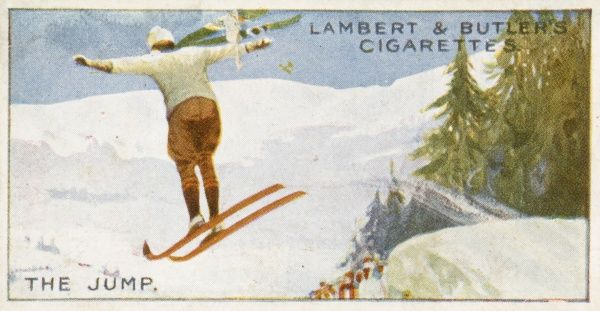 A ski jumper flies off the end of the ramp. Date: 1914
