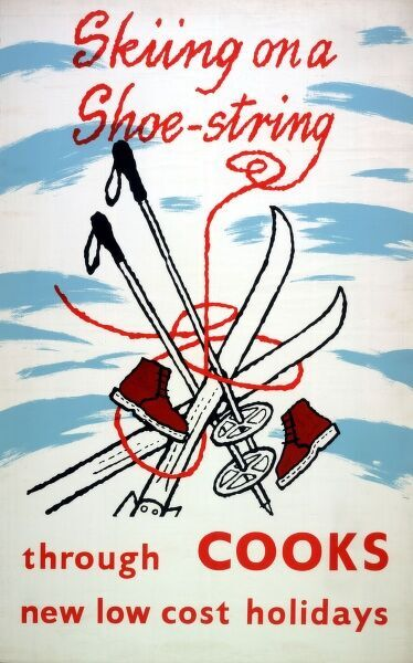 A poster or handbill advertising Skiing on a Shoestring, new low-cost holidays through Thomas Cook. Ski boots, ski poles and skis are arranged in a cartoon-style image