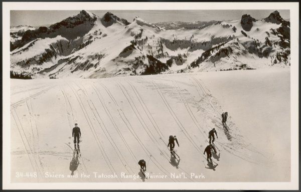 Skiers on the Tatoosh range, Ranier National Park, USA