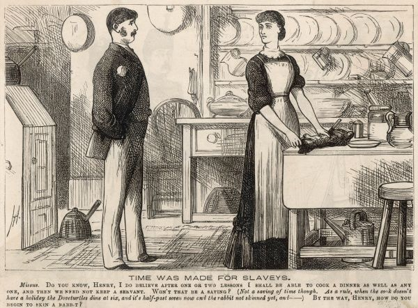 A housewife, determined to take on the domestic duties that their servant currently carries out, gets to grips with skinning a rabbit for dinner