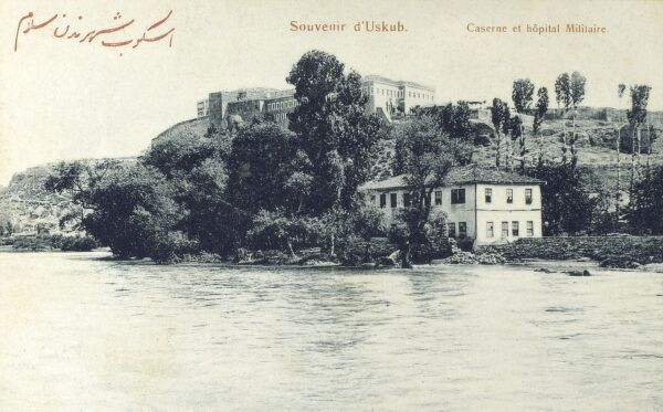 Skopje, Macedonia - Barracks, Miitary Hospital and River Vardar Date: circa 1910s