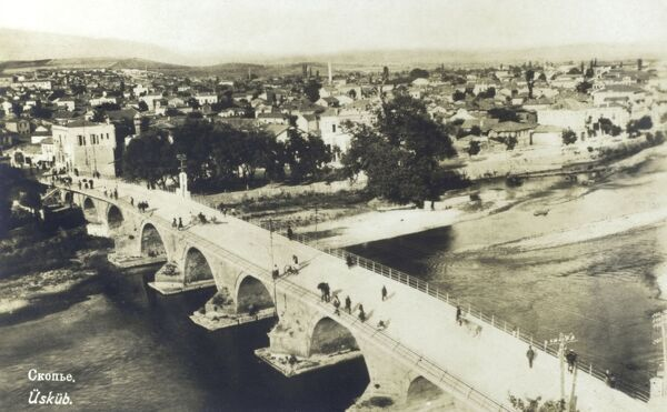 Skopje, Macedonia - The Stone Bridge. Built under the patronage of Sultan Mehmed II the Conqueror between 1451 and 1469, the bridge represents the connection between Skopjes past and present and today is featured as the emblem of the city of Skopje
