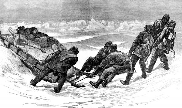 Engraving showing a sledging party hauling their sledge and invalided colleague, during the British Arctic Expedition of 1875-1876