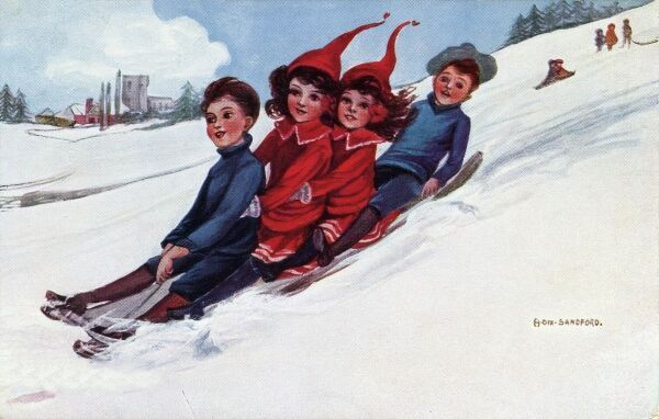 Four on the sledge by Hilda Dix Sandford. Illustration from a postcard by Hilda Dix Sandford (1875-1946). She specialised illustrating children at play. Date: circa 1909