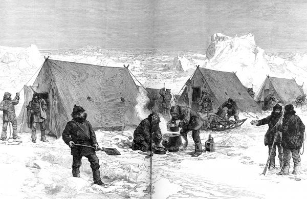 Engraving showing a sledging party setting up camp for the night, during the British Arctic Expedition of 1875-1876. In the summer of 1875 the British Admiralty sent Captain George Nares with two ships, HMS 'Alert' and HMS 'Discovery&#39