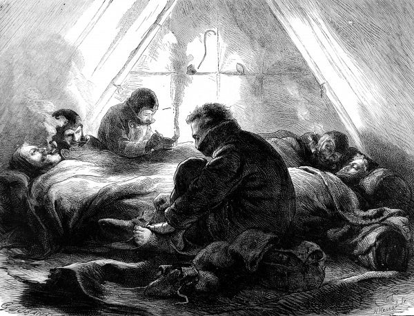 Engraving showing a sledging party of the British Arctic Expedition of 1875-1876, in their tent at night